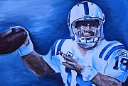 Football Paintings - Peyton by Mikayla Henderson