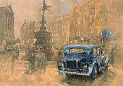 Car Painting Framed Prints - Phantom in Piccadilly  Framed Print by Peter Miller