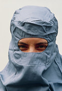 Pharmaceutics Prints - Pharmaceutical Technician In Clean Room Clothing Print by Geoff Tompkinson