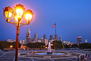 Benjamin Franklin Parkway Photos - Philadelphia at Dusk by Olivier Le Queinec