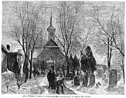 Church Yard Framed Prints - Philadelphia: Winter, 1873 Framed Print by Granger