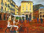 Northern Italy Framed Prints - Piazza de Como Framed Print by Gregory Allen Page