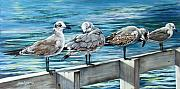 Shorebirds Prints - Pier Gulls Print by Joan Garcia