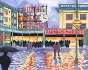 Pacific City Paintings - Pike Place Lights by Scott Nelson