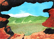 Hike Drawings - Pikes Peak Through Garden of the Gods by Michael Cavaness