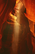 Natural Formations Posters - Pillars of light - Antelope Canyon AZ Poster by Christine Till