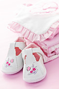 Shower Photo Prints - Pink baby clothes for infant girl Print by Elena Elisseeva
