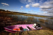 Life Jacket Prints - Pink boat in scenic Saskatchewan Print by Mark Duffy