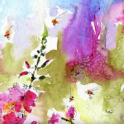 Pink Lavatera Floral Painting 1 Print by Ginette Fine Art LLC Ginette Callaway