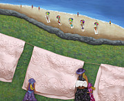 Clothesline Sculpture Prints - Pink Linen Print by Anne Klar