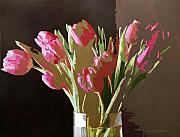Pink Tulips In Glass Print by David Lloyd Glover