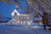 Snowy Night Photo Posters - Pioneer Church at Christmas Time Poster by Utah Images