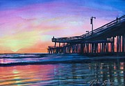 Therese Fowler-bailey Prints - Pismo Pier Sunset Print by Therese Fowler-Bailey