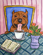Jay Schmetz Metal Prints - Pit Bull Terrier taking a Bath Metal Print by Jay  Schmetz