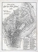 Vintage Map Painting Framed Prints - Plan of the City of New York Framed Print by American School