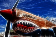 Airplanes Posters - Plane Flying Tigers Poster by Paul Ward