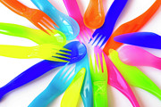Cutlery Photos - Plastic Cutlery by Carlos Caetano
