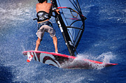Wind Surfing Art Acrylic Prints - Playing with the waves Acrylic Print by Manolis Tsantakis