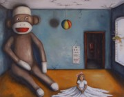 Humor Painting Prints - Playroom Nightmare Print by Leah Saulnier The Painting Maniac