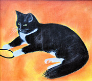 Black And White Cats Pastels - Playtime by Jan Amiss