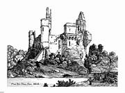 Chateau Mixed Media Prints - Plessis Mace Chateau France 1200ad. Print by John Cullen