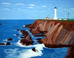 Historic Buildings Paintings - Point Arena Light Station by Frederic Kohli