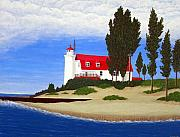 Lighthouse Art Paintings - Point Betsie Lighthouse by Frederic Kohli