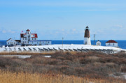 New England Lighthouses Prints - Point Judith Light Print by Catherine Reusch  Daley