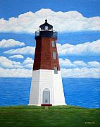 Historic Buildings Paintings - Point Judith Lighthouse by Frederic Kohli