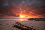 California Surf Prints - Ponto Jetty Sunset 3 Print by Larry Marshall