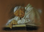 Praying Pastels Posters - Pope John Paul 2nd. Praying Poster by Tony Calleja