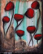 Roses Poppies Paintings - Poppies by  Abril Andrade Griffith