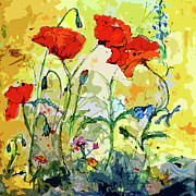 Country Cottage Prints - Poppies Provencale Print by Ginette Fine Art LLC Ginette Callaway