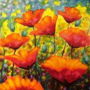 Greeting Cards Paintings - Poppy Corner by John  Nolan