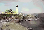 By Charles Shoup Mixed Media Framed Prints - Portland Head Light Framed Print by Charles Shoup