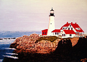 North American Lighthouses - Paintings By Frederic Kohli - Portland Head Light by Frederic Kohli