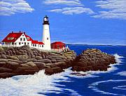 Historic Buildings Paintings - Portland Head Lighthouse by Frederic Kohli