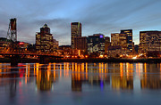 Wooden Platform Metal Prints - Portland Oregon at dusk. Metal Print by Gino Rigucci