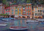 Boats Framed Prints - Portofino al crepuscolo Framed Print by Guido Borelli