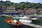 Portofino Italy Boats Framed Prints - Portofino in the Italian Riviera in Liguria Italy Framed Print by David Smith