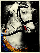 Amusement Rides Posters - Portrait of a Carousel Pony Poster by Colleen Kammerer