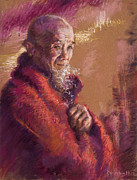 Spirituality Pastels Metal Prints - Portrait of a Monk Metal Print by Ellen Dreibelbis