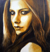 Rock Star Painting Originals - Portrait of Avril by Azlan Dulikab