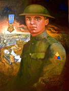 Honor Painting Framed Prints - Portrait of Corporal Roberts Framed Print by Dean Gleisberg
