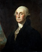 Wig Paintings - Portrait of George Washington by Gilbert Stuart