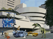 Science Fiction Painting Prints - Post-Nuclear Guggenheim Visit Print by Scott Listfield