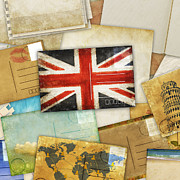 Old England Digital Art Prints - Postcard And Old Papers Print by Setsiri Silapasuwanchai