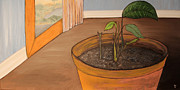Plant Greeting Cards Painting Prints - Pot Print by Oscar Cielos