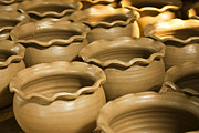 Brown Ceramics Metal Prints - Pottery In Thailand  Metal Print by Chatchawin Jampapha