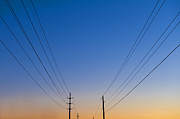 Light Poles Framed Prints - Power Lines Framed Print by Jacobs Stock Photography
